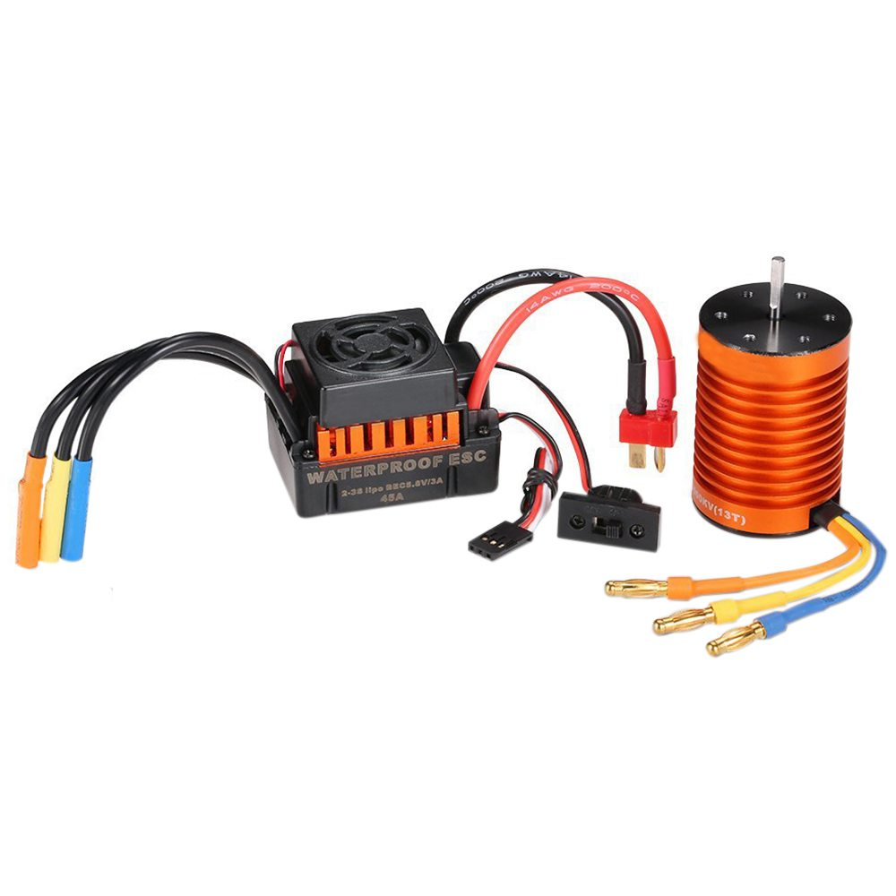 HOT SALE Waterproof F540 3300KV Brushless Motor with 45A ESC Combo Set for 1/10 RC Car Truck waterproof 45a brushless esc