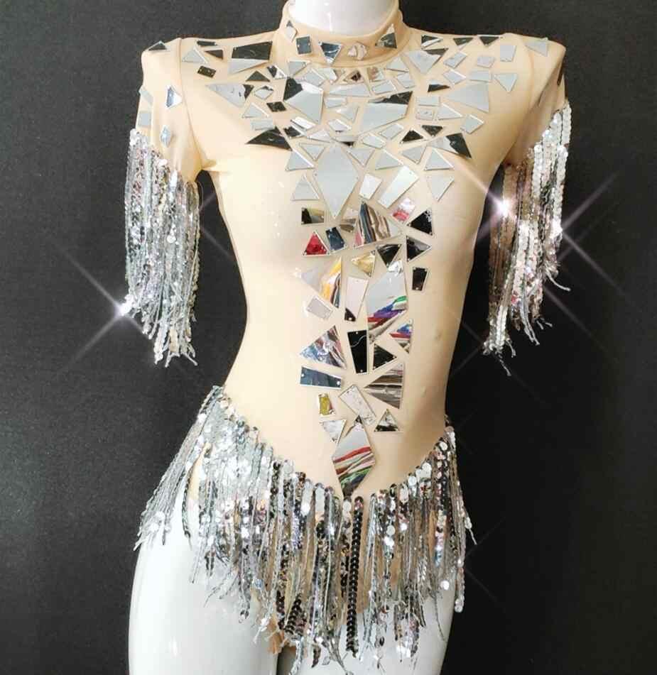 Модные открытые пикантные серебряные зеркала купальник для танцев костюм Для женщин бахромой боди Показать Певица в ночном клубе шоу на сцене носить