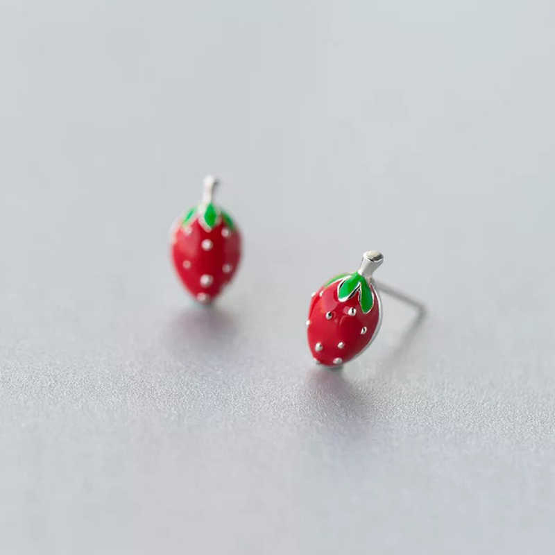 XIYANIKE 925 Sterling Silver Earring Fashion Cute Tiny Sweet Little Strawberry Stud Earrings Gift For Girls Kids Lady VES6165