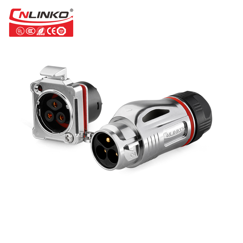 CNLinko <font><b>3</b></font> Pin Metal Connector Outdoor Wire Connector <font><b>AC</b></font>/<font><b>DC</b></font> Jack Plug and Socket Connector for Industrial Equipment Waterproof image