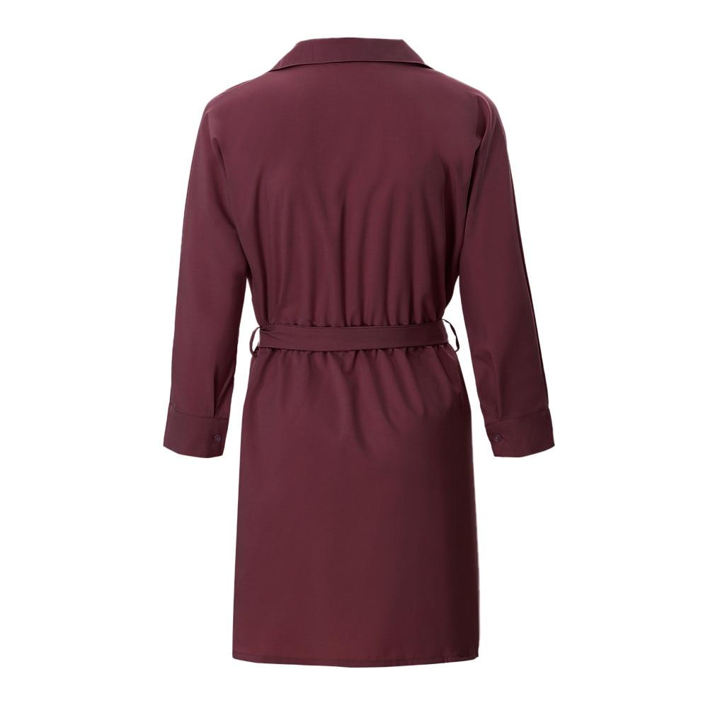 HTB1qbHvavfsK1RjSszbq6AqBXXay Shirt Fashion Summer Dress Women Autumn Dress Long Sleeve Turn-Down Collar T Shirt Dress 4 Colour Casual Mini Office Dress