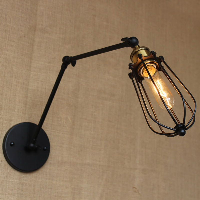 new design fashion antique reto black swing arm wall lamp with wire ball for workroom bedside bedroom illumination sconce 4pcs new for ball uff bes m18mg noc80b s04g