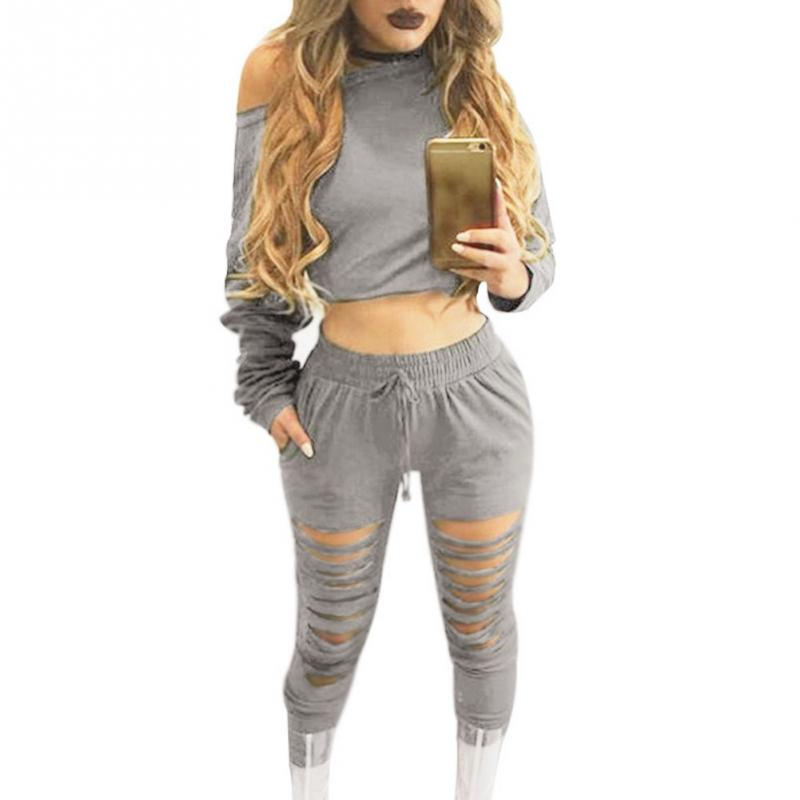 Women Sexy Two Piece Set Tracksuit Top And hole Pants Ladies Casual off shoulder blouse Suits Sweatsuits For Women Spring Autumn