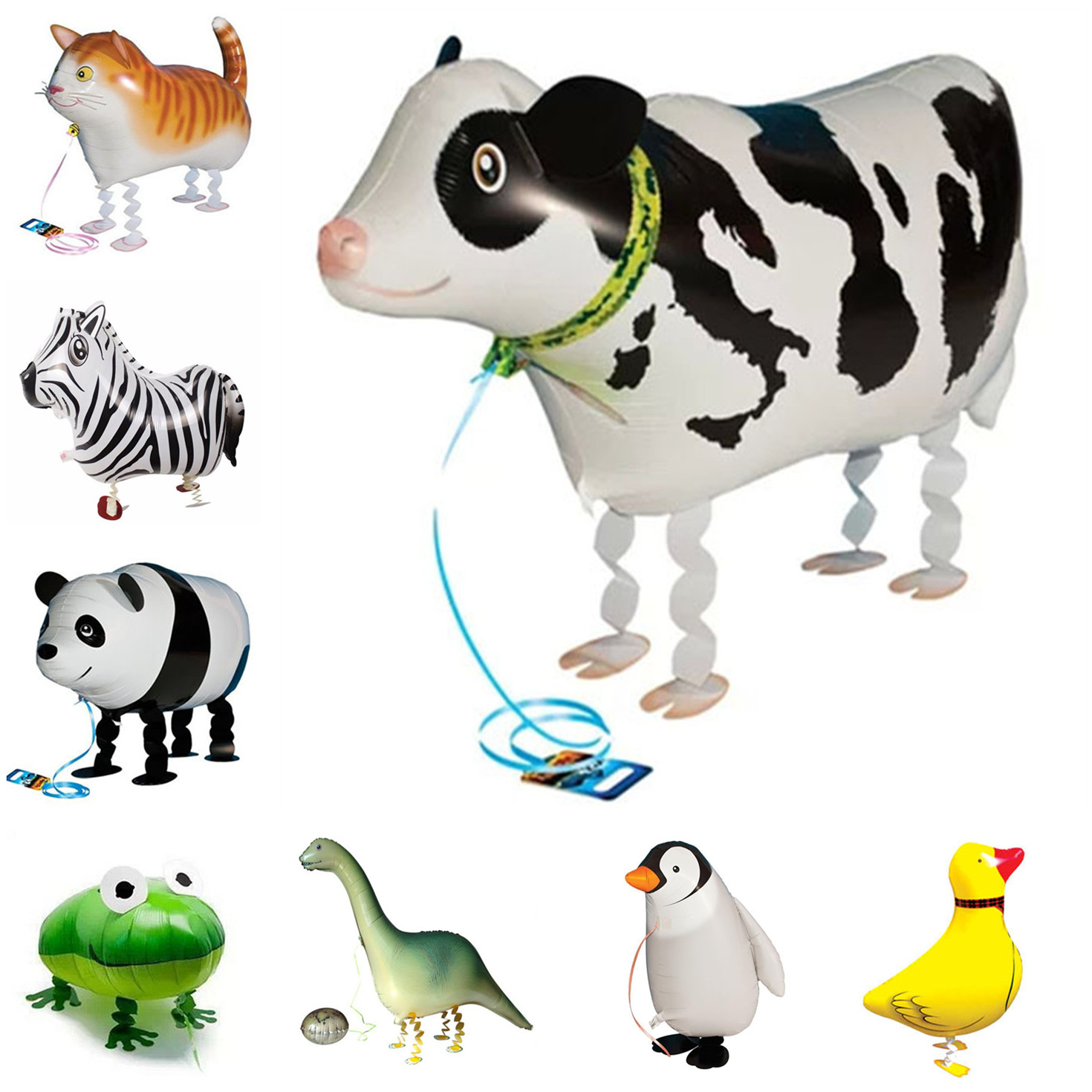 Walking Animals Foil Balloon Pet Walking Cat Cow Frog Helium Balloons Baby Shower Party Birthday Wedding Decorations Kids Toys