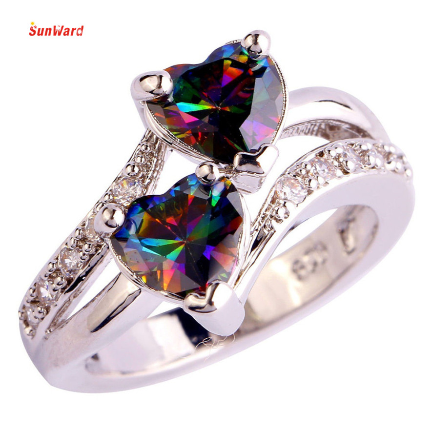 OTOKY Double Hearts Party Jewelry Rings For Wedding Ring Classical Finger Ring Fashion Crystal Jewelry