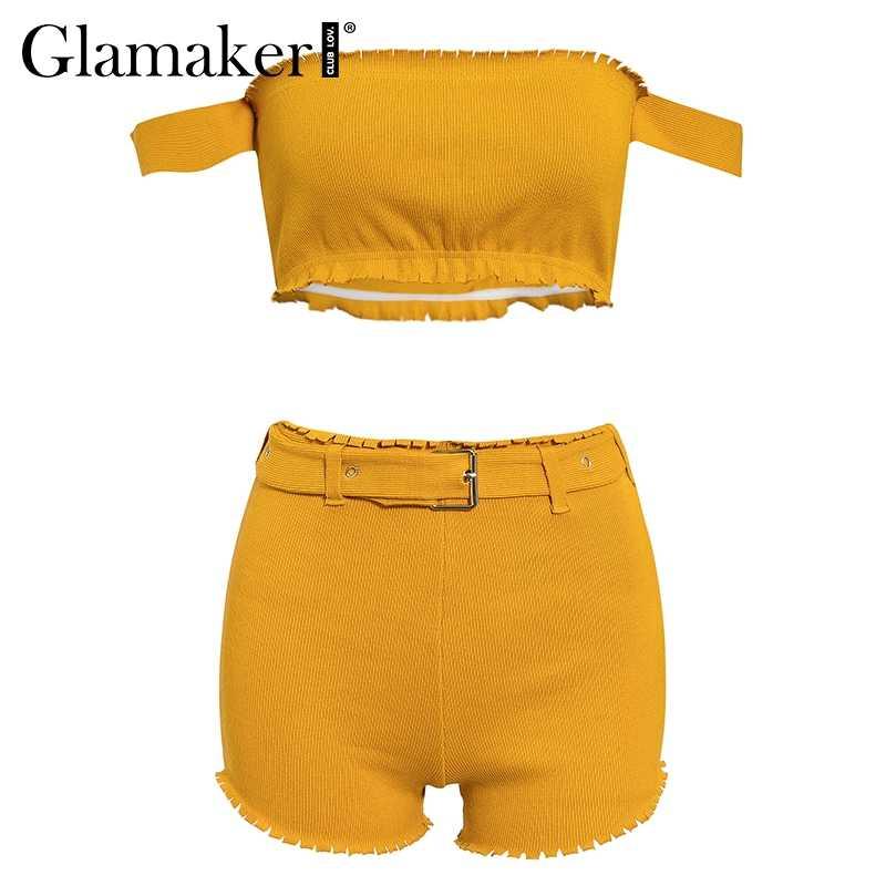 Glamaker de punto amarillo de hombro playsuit verano de las mujeres traje de dos piezas de cinturón Pantalones mujer bodycon fiesta corto mono