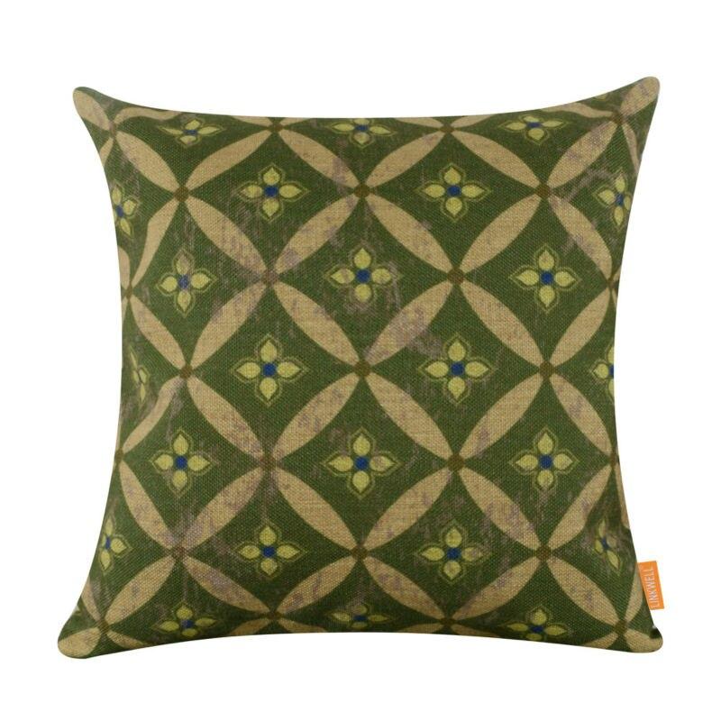 LINKWELL 45x45cm Vintage Green Geometric Round Shape Ikat ...