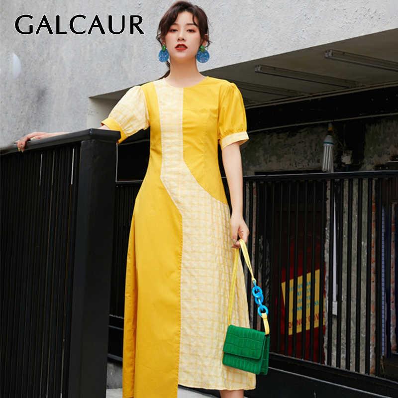 GALCAUR/летнее клетчатое женское платье с круглым вырезом и пышными рукавами, с высокой талией, модного цвета, в стиле пэчворк, миди платья женские, 2019, модная новинка