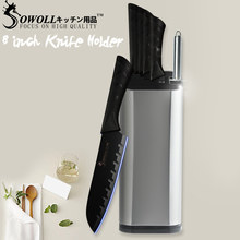 "XYj Stainless Steel 8"" Kitchen Knife Stand Tool Holder Multifunctional Tool Holder Knife Block Sooktops Tube Shelf Chromophous(China)"