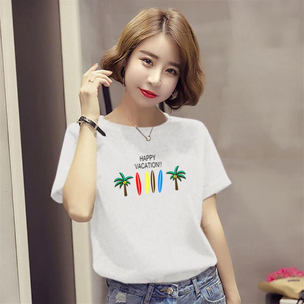 Harajuku Summer Women's New Ins Fashion Cartoon Printed Letter Short-sleeved Casual T-shirt Shirt S-2XL