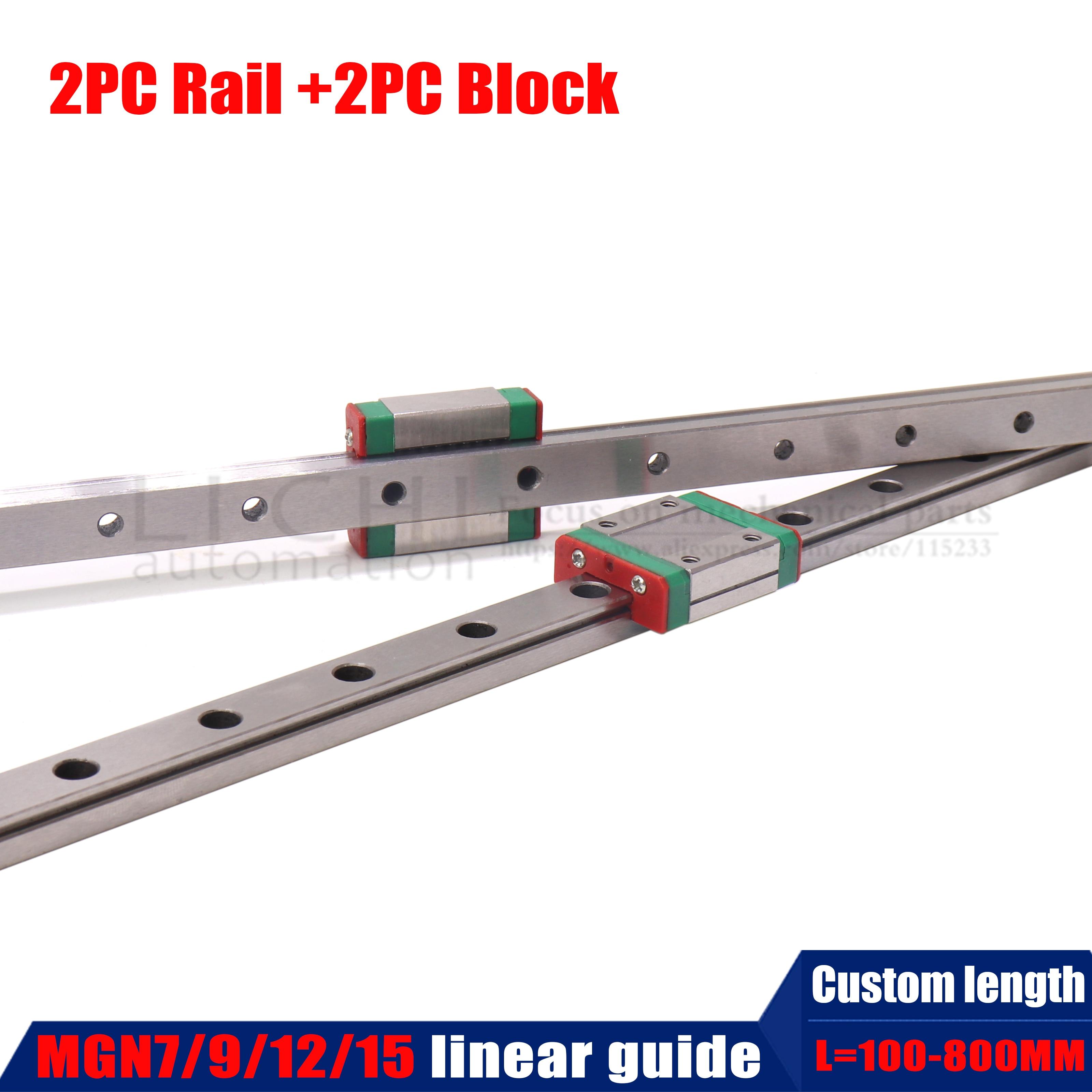 2PC Linear Slider  MGN7C MGN7H MGN9C MGN9H MGN12C MGN12H MGN15C MGN15H with 2PC MGN Linear Rail Guide 150mm 300mm 400mm