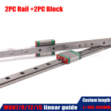 2PC Linear Slider  MGN7C MGN7H MGN9C MGN9H MGN12C MGN12H MGN15C MGN15H with 2PC MGN Linear Rail Guide 150mm 300mm 400mm