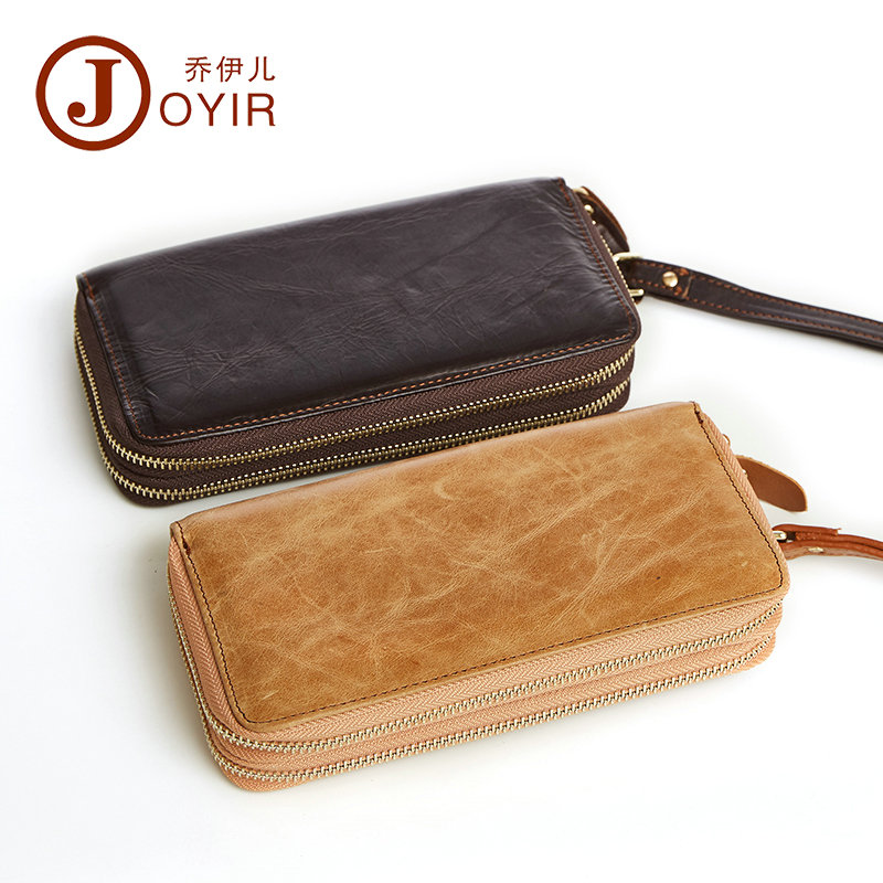 JOYIR Cowhide Men Wallets Genuine Leather Money Clutch Bag Double Zipper Design Business Male Wallet Long Card Holder for iPhone a study of the religio political thought of abdurrahman wahid