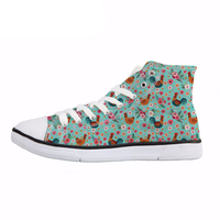 NOISYDESIGNS Spring Lace Up Vulcanize Shoes Fashion Chicken Flower Print Female High Top Canvas Shoes Women Newst Flat Shoe Girl
