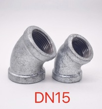 10PCS/LOT . DN15 Galvanized Wire Connector Inner Elbow Pipe Fittings Elbow  45 Degree стоимость