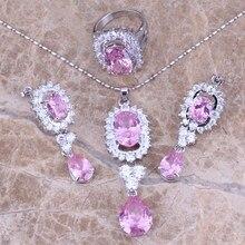 Moda Rosa Blanco CZ Joyería Conjuntos Pendientes Colgante Anillo de Plata Para Las Mujeres tamaño 6/7/8/9/10 Envío S0048