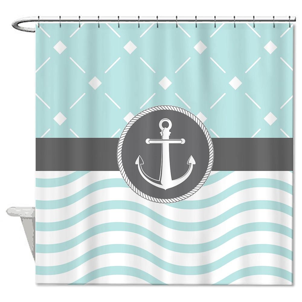 "Light Green Anchor Shower Curtains Waterproof Polyester Mildew Bathroom Curtains 72*72"" Bath"