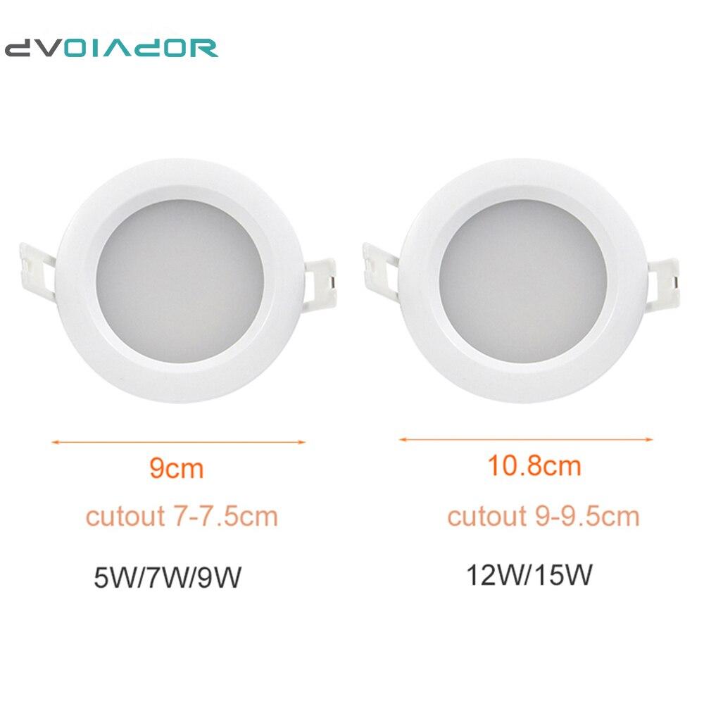 DVOLADOR 4 pcs/Lot LED étanche Downlight IP65 LED Spot lumière 15 W/12 W/9 W/7 W/5 W Super lumineux 220 V salle de bain encastré plafonnier - 6