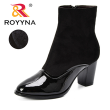 ROYYNA New Fashion Ladies Mid-Calf Boots Soft Flock Short Plush Boots Feminimo Black Zipper Women Winter Shoe Trendy Comfortable cheap Adult Solid Sewing High (5cm-8cm) Fits true to size take your normal size Rubber Basic D118-9 Round Toe Hoof Heels Women Boots