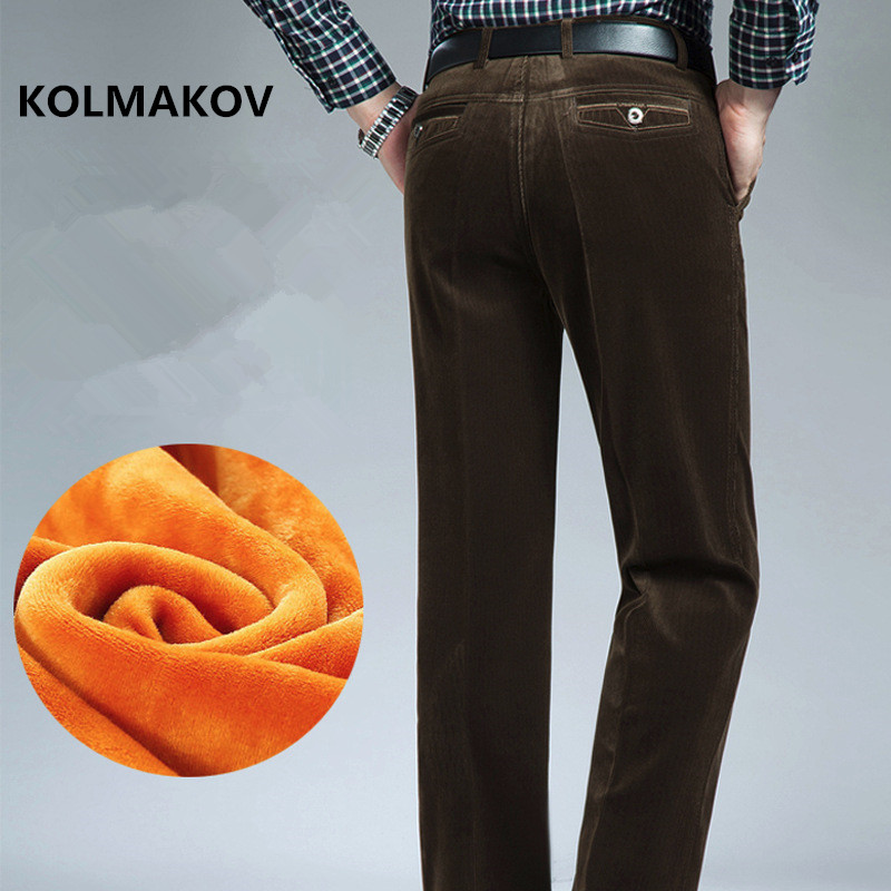 2019 Winter New Style Thickening Warm Trouser Men's Casual Pants Men Business Fashion Corduroy Trousers Male Clothing Size 30-42