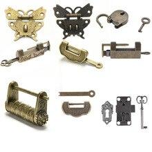 Candado pequeño de aleación de Zinc antiguo estilo antiguo Vintage, cerradura de llave para equipaje, Hardware de uso doméstico para cajón de maleta de madera