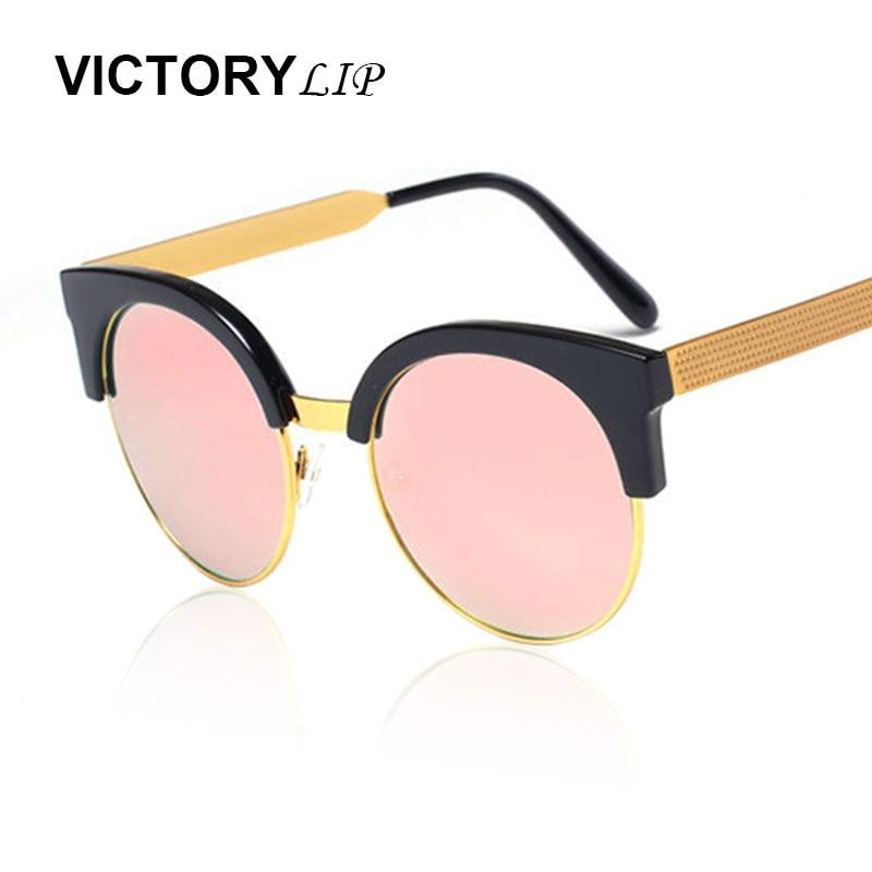 Victorylip rodada metal frame lente círculo 2016 cat eye marca designer  espelho óculos de sol mulheres homens moda senhora óculos de sol 0dfdee6a6a