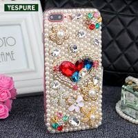 YESPURE Bling Glitter Crystal Pearls Shinning Covers Anti Shock Phone Case For Iphone 6 6s 3D