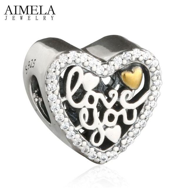 AIMELA 2017 Día de San Valentín Amor Usted Script Beads Original 925 Sterling Silver & Gold Plated Corazón Del Grano Del Encanto Para La Joyería haciendo