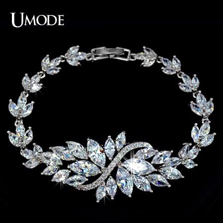 Prix pour UMODE Marquise Cut AAA + CZ Fleur Bracelet Blanc Or Couleur Bracelet pour les Femmes De Mariage En Cristal D'anniversaire De Bijoux Cadeau Chaud UB0005