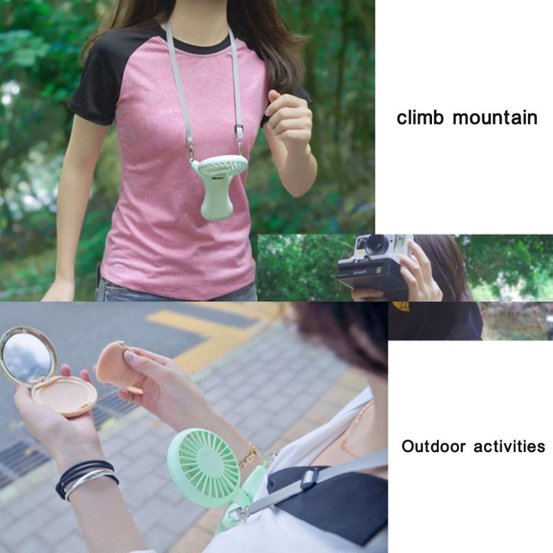 Image 5 - USB Portable Neck Hanging Fan Rechargeable Air Cooler Sports 3 gears Hand Held Desktop Electric Fan for Traveling Outdoor Office-in USB Gadgets from Computer & Office