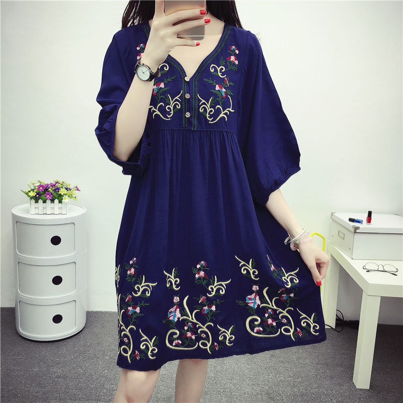 8bc6ea9673384 Detail Feedback Questions about Hot Sale Free Shipping Summer Vintage 70s  Mexican Ethnic Embroidered Boho Hippie Loose Causel Women Chic Mini Dress  Vestidos ...