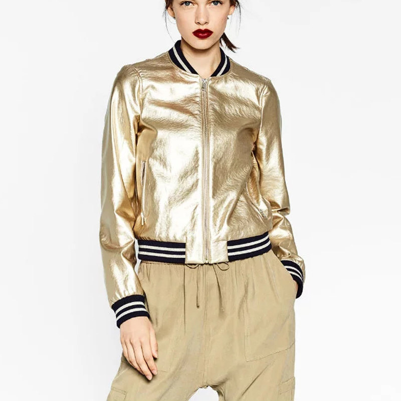Bomber Jaqueta Faux silver Autumn Jacket Sleeve Long Outwear Gold Sliver Orange Coat Casual Ladies Leather Women And Feminina Striped 2019 x0XqTdHww