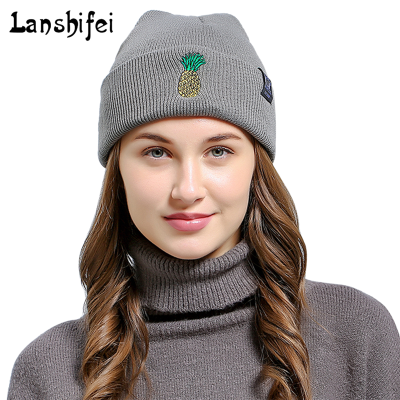 New Fashion Winter Hat Women Man   Skullies     Beanies   Embroidered YOUTH Letters Pineapple Outdoor Flanging Pull-over Knitting Hat