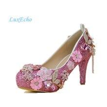 c7290bb24 Novo Luxo chegada de cristal sapatos com tira no tornozelo vestido de festa  sapatos de noiva Strass Rosa Princesa sapatos sapato.
