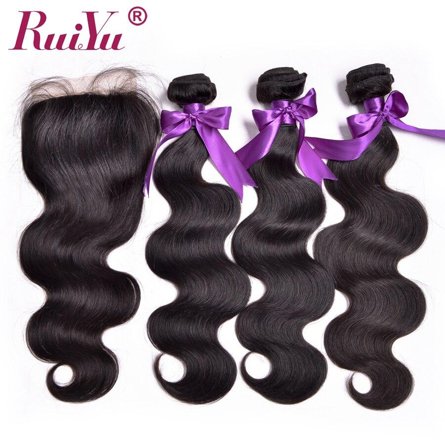 RUIYU Brazilian Hair Body Wave With Closure Human Hair Bundles 3 Pcs Non Remy Hair Weaves Lace Closure Natural Color