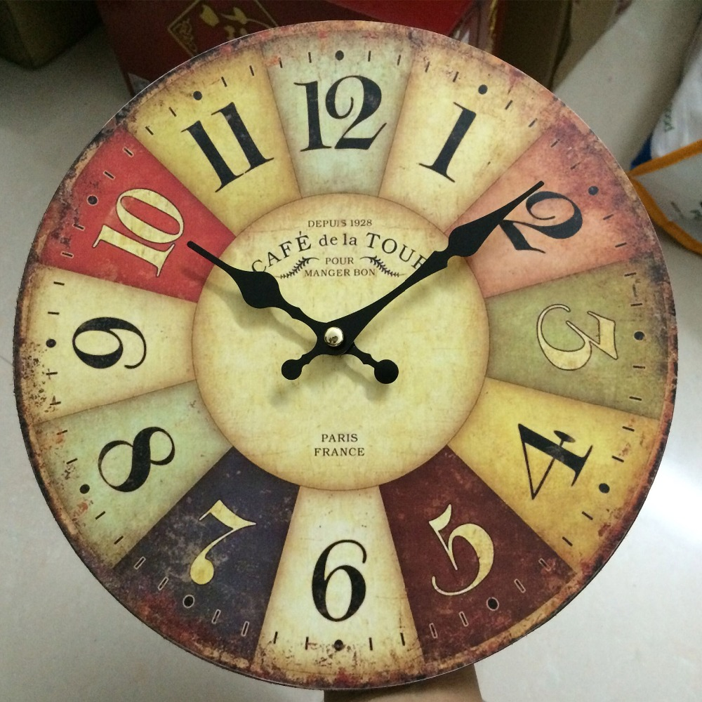 Cheap Traditional Wall Clocks France Paris Antiqued Digital Wood ...