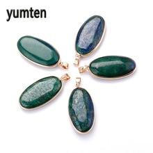 Yumten Lapis Lazuli Pingente Peacock Green Gemstone Necklace Crystals Jewelry Gift Bijoux Femme Amber Pendant Chocker Chaveiro