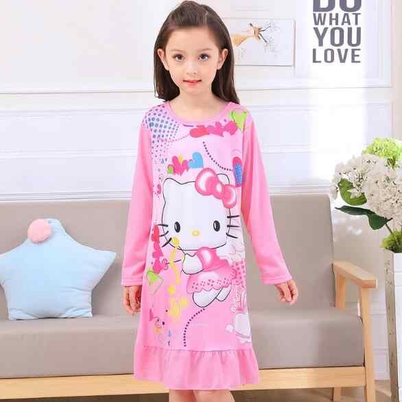 c87965bc12c3 ... Spring   Autumn Big girls Nightgown Pajamas kids long sleeved  nightdress cute cartoon child female baby ...
