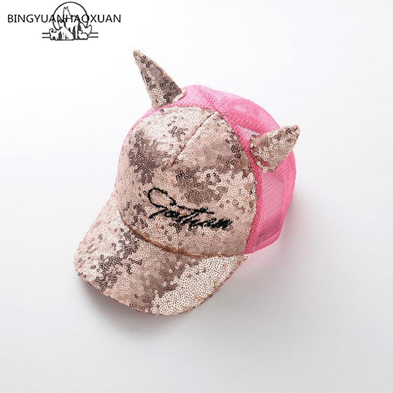 BINGYUANHAOXUAN 2-8year Baby Girls Sequins Horn   Baseball     Caps   Children Snapback Mesh Summer Adjustable Sun Hats Decoration