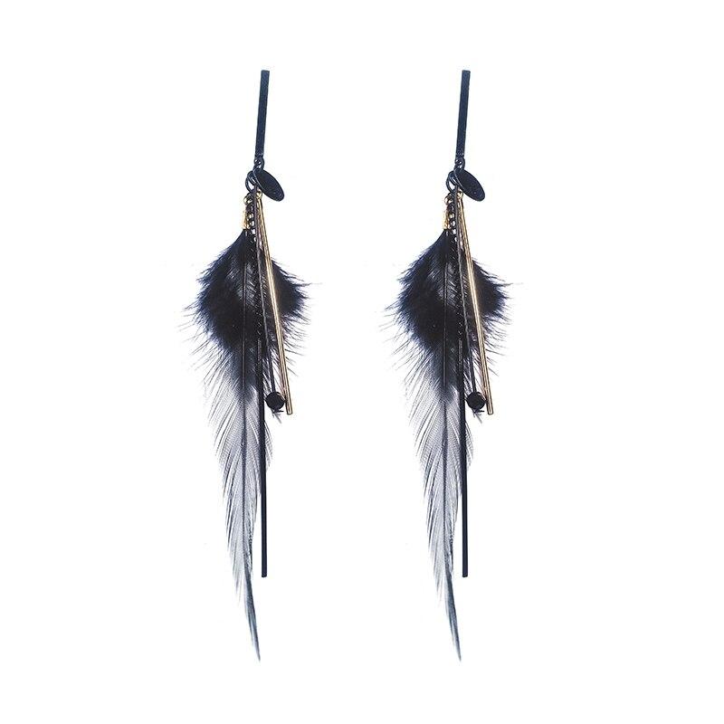 Brand Fashion Black Feather Earrings Fairy Long Tassel Wild Tide Drop Dangle Earrings Europe America Female Jewelry in Drop Earrings from Jewelry Accessories