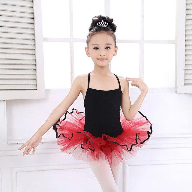 Simple Stlye Noir + Rouge Ballet Tutu Justaucorps Enfants Body Costume De  Danse Pour Les Filles ff1951ec0da