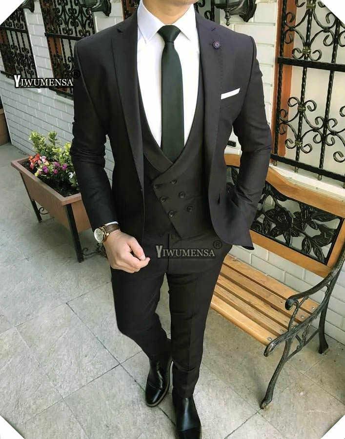 Yiwumensa terno masculino スリムフィットメンズスーツパンツと 2019 カスタムメイド黒結婚式のためにスーツ 3 ピース新郎スーツ