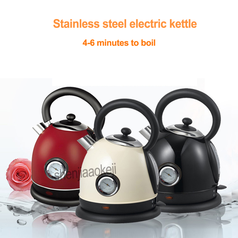 Household Stainless Steel Electric Kettle With Thermometer Instant Water Boiler Water Heater 1.8L Office 220V 1850-2200w 1pc hl15b 8l free ship 220v stainless steel water barrel heater water boiler temperature adjustable water electricity bucket