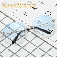 KarenheatherSkull Sunglasses Women Oversized Cat Eye Coating Mirror Eyewear Flower Shades Luxury Brand Steampunk Rimless Glasses
