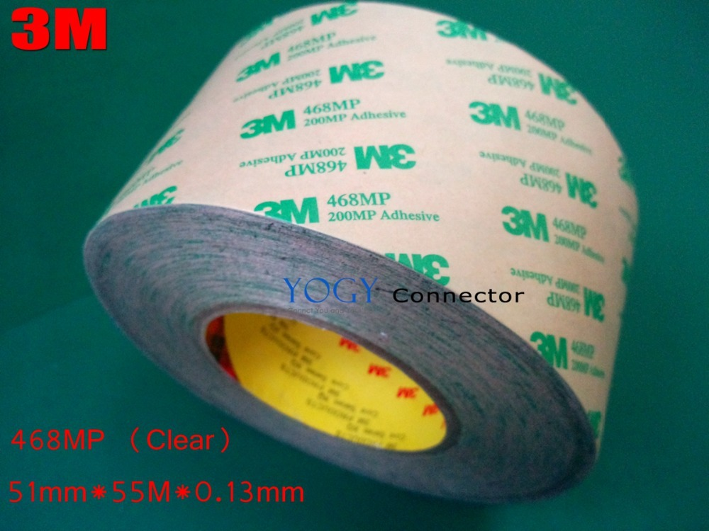 3M 468MP 200MP, 51mm*55M*0.13mm  Double Sided Adhesive Tape for Nameplate Automotive Industry High Ultimate Bond Strength 1pc durable double sided tape adhesive high strength double faced tape foam attachment tape two sided adhesive 10mx20mm