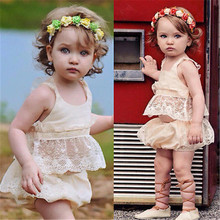 Babies Girls Summer Outfits 2pcs Toddler Infant Baby Girl Clothes Lace Floral Tops+Bottoms Briefs Outfit Set Clothing