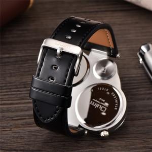 Image 3 - Oulm Unique Sports Mens Watches Top Brand Luxury 2 Time Zone Quartz Watch Decorative Compass Male Wrist Watch