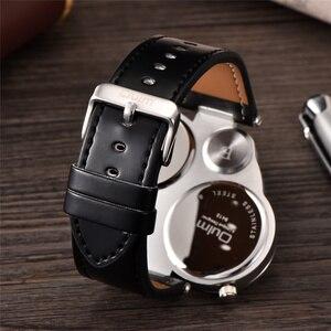 Image 3 - Oulm unikalne sportowe męskie zegarki Top marka luksusowe 2 strefa czasowa zegarek kwarcowy dekoracyjny kompas męski zegarek na rękę