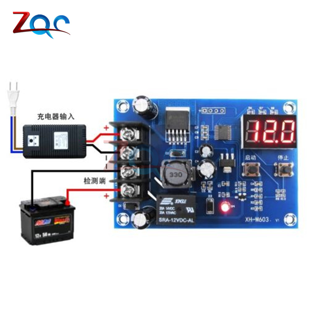 XH M603 Charging Control Module 12 24V Storage Lithium Battery Charger Control Switch Protection Board With LED Display-in Instrument Parts & Accessories from Tools