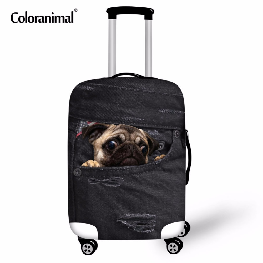 Coloranimal Trolley Luggage Protective Cover For 18-30 Inch Suitcase Cute Animal Dog Pug Black Denim Elastic Bag Rain Dust Cover